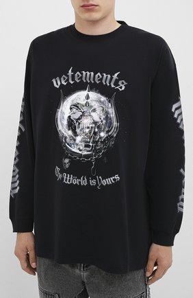 Мужская хлопковый лонгслив VETEMENTS черного цвета, арт. UAH21TR612 1611/M   Фото 3