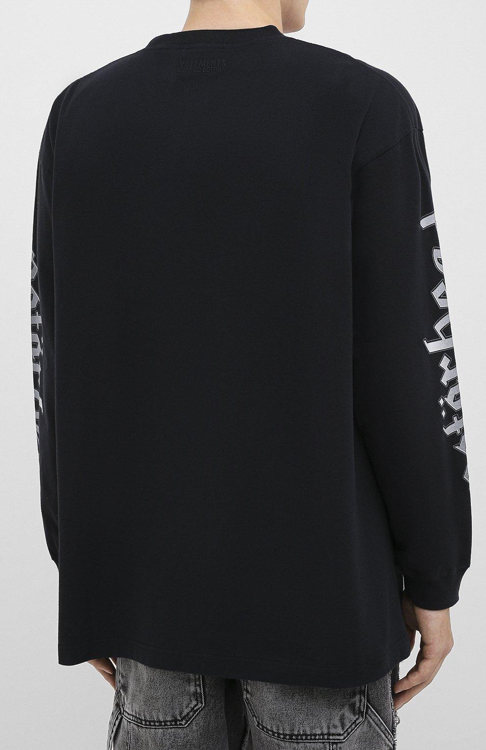 Мужская хлопковый лонгслив VETEMENTS черного цвета, арт. UAH21TR612 1611/M   Фото 4