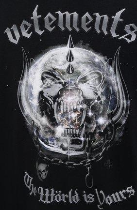 Мужская хлопковый лонгслив VETEMENTS черного цвета, арт. UAH21TR612 1611/M   Фото 5