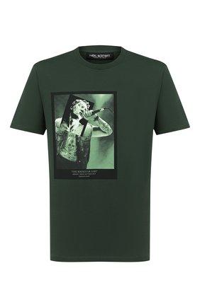 Мужская хлопковая футболка NEIL BARRETT темно-зеленого цвета, арт. PBJT815S/P532S | Фото 1