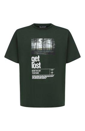 Мужская хлопковая футболка NEIL BARRETT зеленого цвета, арт. PBJT823S/P544S | Фото 1