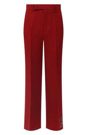 Женские брюки из шелка и шерсти GUCCI красного цвета, арт. 621941/ZAD88 | Фото 1