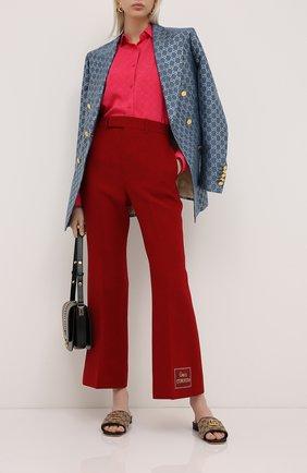 Женские брюки из шелка и шерсти GUCCI красного цвета, арт. 621941/ZAD88 | Фото 2