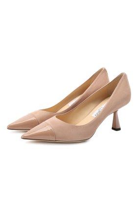 Женская замшевые туфли rene 65 JIMMY CHOO светло-розового цвета, арт. RENE 65/SPT | Фото 1
