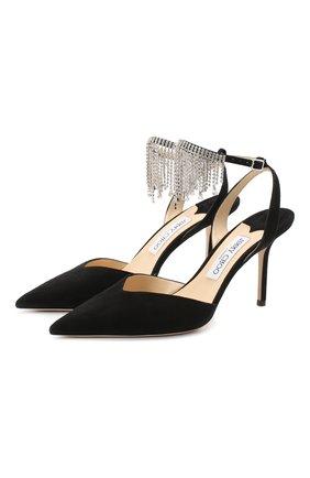 Женская замшевые туфли birtie 85 JIMMY CHOO черного цвета, арт. BIRTIE 85/DRS | Фото 1