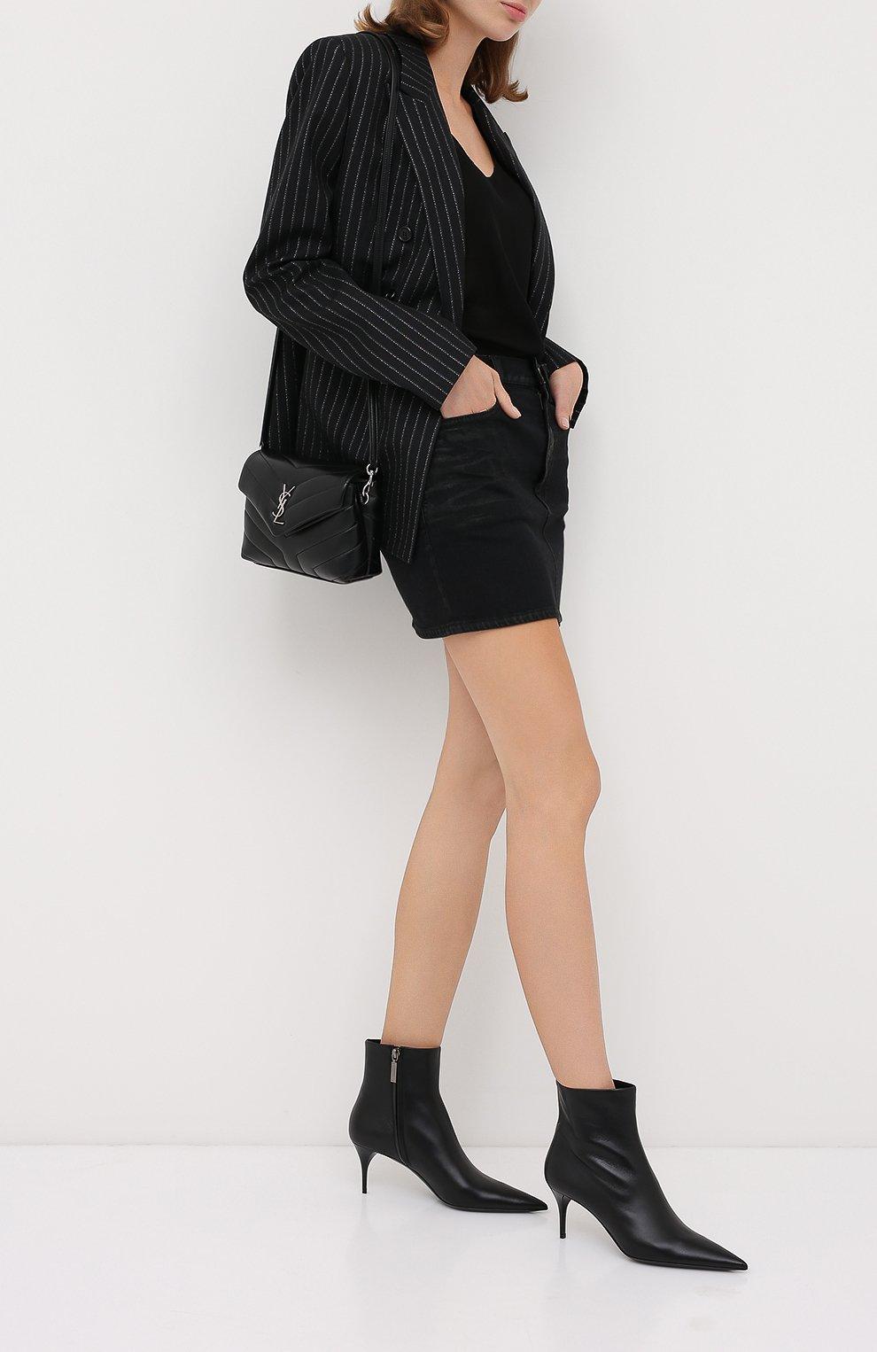 Женские кожаные ботильоны lexi SAINT LAURENT черного цвета, арт. 620158/1N800   Фото 2