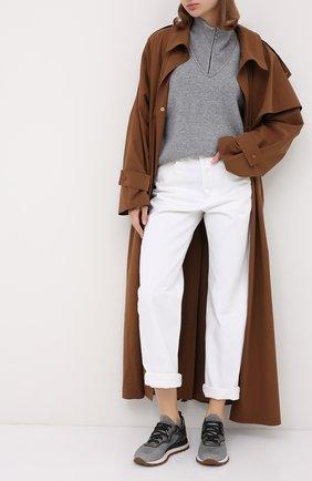 Женские комбинированные кроссовки BRUNELLO CUCINELLI серебряного цвета, арт. MZ34G1871P | Фото 2 (Материал внутренний: Текстиль, Натуральная кожа; Подошва: Платформа; Материал внешний: Текстиль)