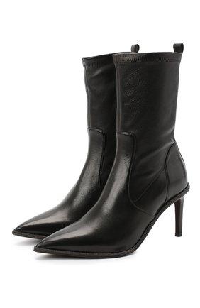 Женские кожаные ботильоны BRUNELLO CUCINELLI черного цвета, арт. MZNSC1884P | Фото 1 (Подошва: Плоская; Каблук высота: Высокий; Материал внутренний: Натуральная кожа; Материал внешний: Кожа; Каблук тип: Шпилька)