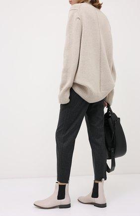 Женские кожаные челси BRUNELLO CUCINELLI светло-серого цвета, арт. MZPRC1862P | Фото 2