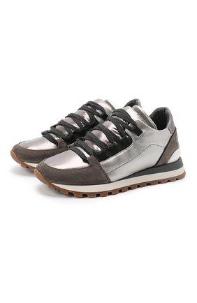 Женские комбинированные кроссовки BRUNELLO CUCINELLI серебряного цвета, арт. MZSFG1889P | Фото 1 (Подошва: Платформа; Материал внутренний: Натуральная кожа)