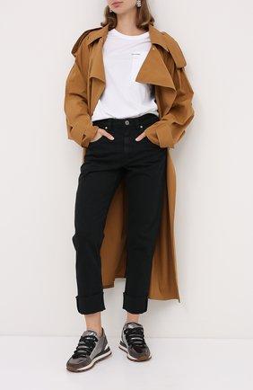 Женские комбинированные кроссовки BRUNELLO CUCINELLI серебряного цвета, арт. MZSFG1889P | Фото 2 (Подошва: Платформа; Материал внутренний: Натуральная кожа)