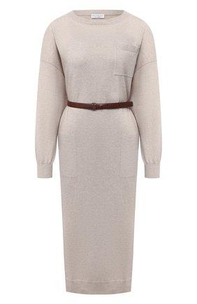 Женское кашемировое платье BRUNELLO CUCINELLI светло-бежевого цвета, арт. M2E811A90P | Фото 1