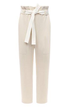 Женские хлопковые брюки BRUNELLO CUCINELLI белого цвета, арт. MP827P7374   Фото 1