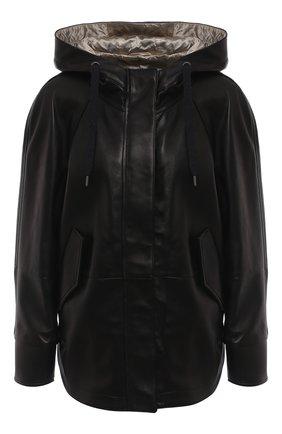 Женская кожаная куртка BRUNELLO CUCINELLI черного цвета, арт. MPNVS8818P | Фото 1