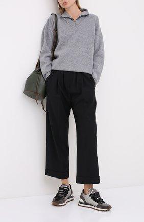 Женские шерстяные брюки BRUNELLO CUCINELLI черного цвета, арт. MPW07P7355   Фото 2