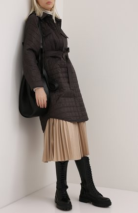 Женское пуховое пальто BRUNELLO CUCINELLI коричневого цвета, арт. MR4059535P   Фото 2