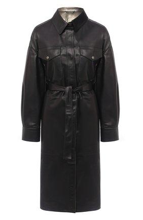 Женский кожаный плащ BRUNELLO CUCINELLI черного цвета, арт. MPCRL9481P | Фото 1