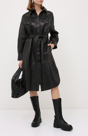 Женский кожаный плащ BRUNELLO CUCINELLI черного цвета, арт. MPCRL9481P | Фото 2