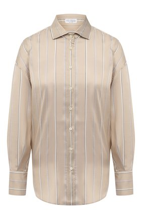 Женская шелковая рубашка BRUNELLO CUCINELLI бежевого цвета, арт. MP744NB606   Фото 1