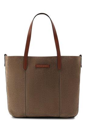 Женская сумка-шопер  BRUNELLO CUCINELLI темно-бежевого цвета, арт. MBRVD2103P | Фото 1