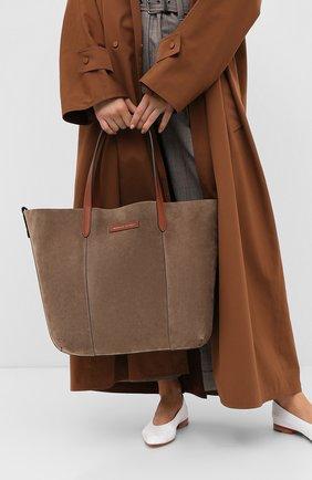 Женская сумка-шопер  BRUNELLO CUCINELLI темно-бежевого цвета, арт. MBRVD2103P | Фото 2