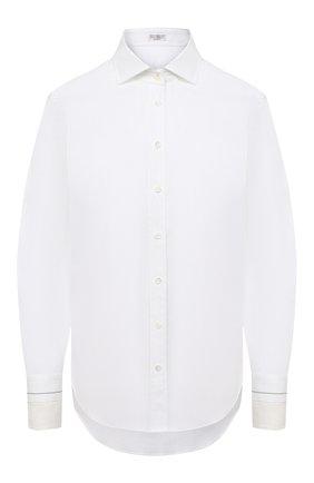 Женская хлопковая рубашка BRUNELLO CUCINELLI белого цвета, арт. MP091MI106 | Фото 1