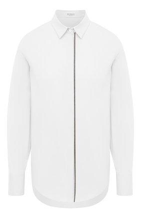 Женская хлопковая рубашка BRUNELLO CUCINELLI белого цвета, арт. MP091MA906 | Фото 1