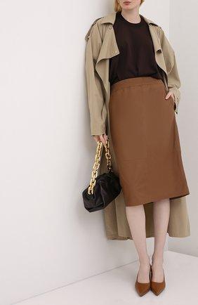 Женская кожаная юбка ESCADA бежевого цвета, арт. 5033446 | Фото 2