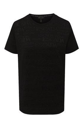 Женская хлопковая футболка ESCADA черного цвета, арт. 5033412 | Фото 1