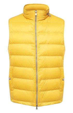 Мужской пуховый жилет BRUNELLO CUCINELLI желтого цвета, арт. MR4051714 | Фото 1