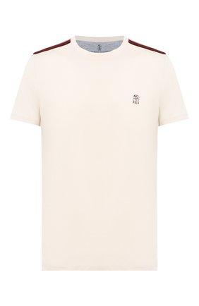 Мужская хлопковая футболка BRUNELLO CUCINELLI бежевого цвета, арт. M0T611550G | Фото 1 (Материал внешний: Хлопок; Длина (для топов): Стандартные; Рукава: Короткие; Мужское Кросс-КТ: Футболка-одежда; Принт: Без принта; Стили: Кэжуэл)