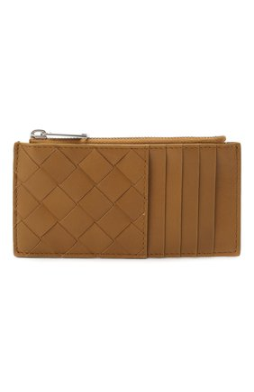 Мужской кожаный футляр для кредитных карт BOTTEGA VENETA светло-коричневого цвета, арт. 591379/VCPQ3 | Фото 1