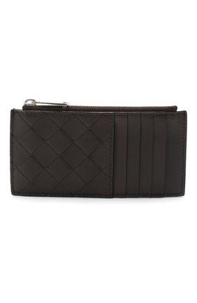 Мужской кожаный футляр для кредитных карт BOTTEGA VENETA темно-коричневого цвета, арт. 591379/VCPQ3 | Фото 1