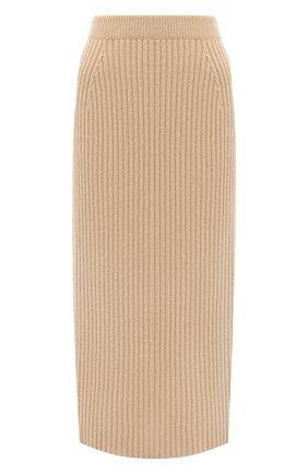 Женская кашемировая юбка LORO PIANA бежевого цвета, арт. FAL2866 | Фото 1