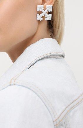Женские серьги OFF-WHITE белого цвета, арт. 0W0D029S20MET0010100 | Фото 2