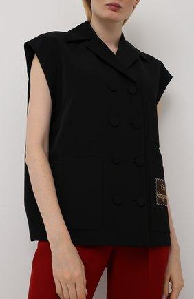 Женский жилет из хлопка и вискозы GUCCI черного цвета, арт. 611943/ZADUU | Фото 3