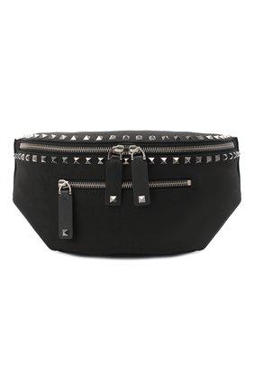 Мужская текстильная поясная сумка  VALENTINO черного цвета, арт. UY2B0982/QKJ   Фото 1