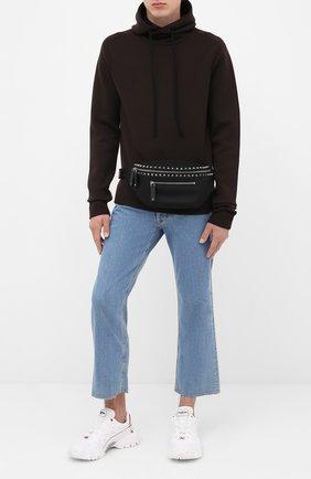 Мужская текстильная поясная сумка  VALENTINO черного цвета, арт. UY2B0982/QKJ   Фото 2