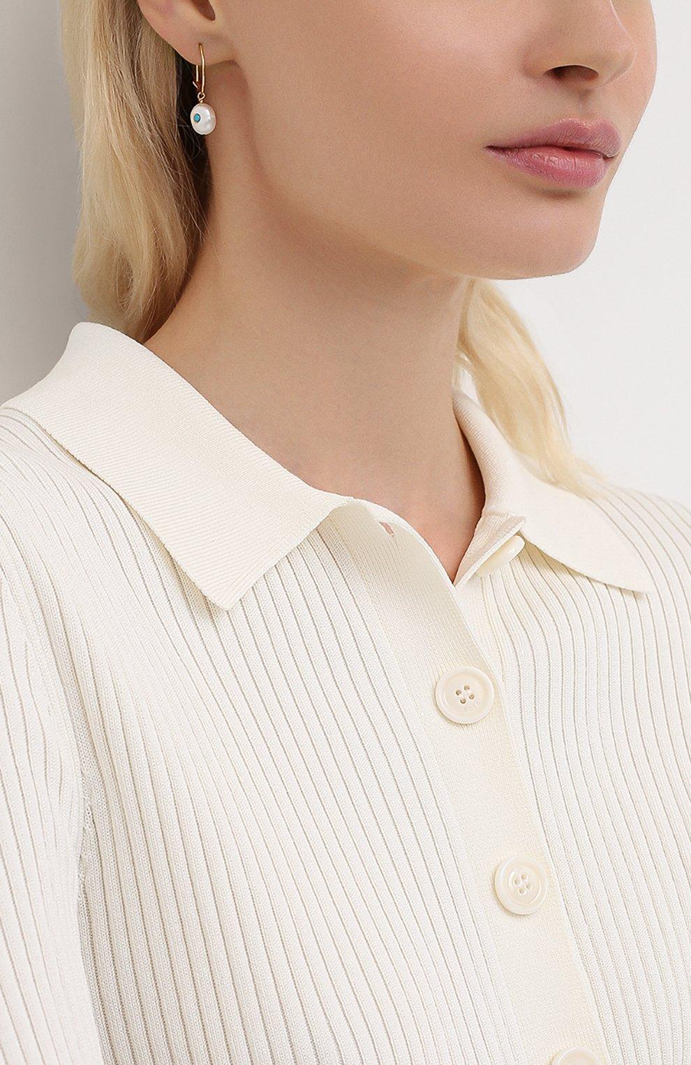 Женские моносерьга ANNI LU белого цвета, арт. 192-30-37   Фото 2 (Кросс-КТ: моносерьга; Материал: Металл)