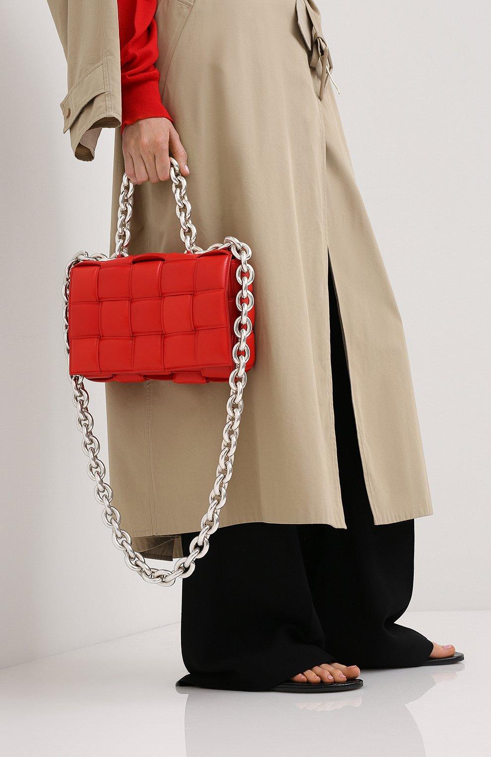 Женская сумка chain cassette BOTTEGA VENETA красного цвета, арт. 631421/VBWZ0   Фото 2