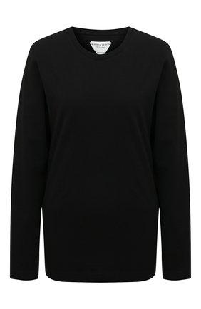 Женская хлопковый лонгслив BOTTEGA VENETA черного цвета, арт. 636866/VF1U0 | Фото 1