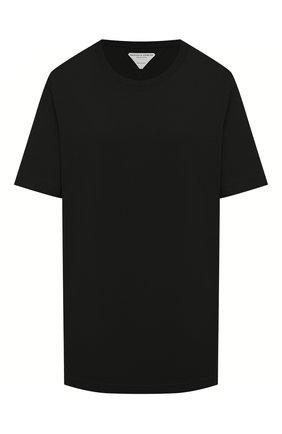 Женская хлопковая футболка BOTTEGA VENETA черного цвета, арт. 636861/VF1U0 | Фото 1