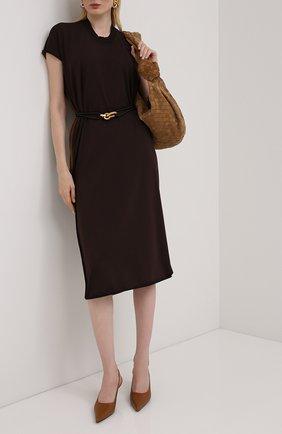 Женское платье BOTTEGA VENETA темно-коричневого цвета, арт. 631757/VKWC0 | Фото 2