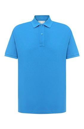 Мужское хлопковое поло BOTTEGA VENETA синего цвета, арт. 631006/V01G0 | Фото 1