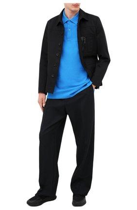 Мужское хлопковое поло BOTTEGA VENETA синего цвета, арт. 631006/V01G0 | Фото 2