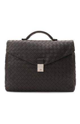Мужской кожаный портфель BOTTEGA VENETA темно-коричневого цвета, арт. 630239/VCRL2 | Фото 1