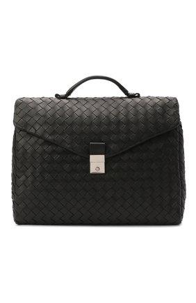 Мужской кожаный портфель BOTTEGA VENETA черного цвета, арт. 630239/VCRL2   Фото 1