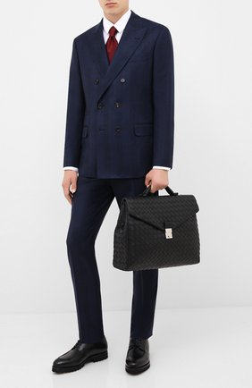 Мужской кожаный портфель BOTTEGA VENETA черного цвета, арт. 630239/VCRL2   Фото 2