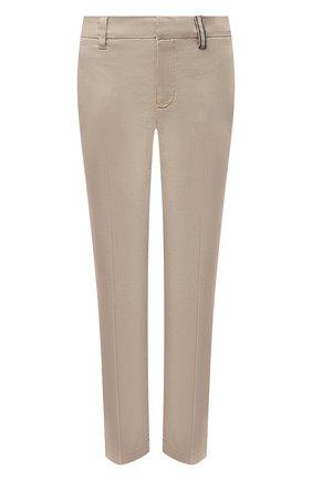 Женские хлопковые брюки BRUNELLO CUCINELLI светло-коричневого цвета, арт. MP080P5398 | Фото 1