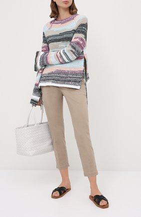 Женские хлопковые брюки BRUNELLO CUCINELLI светло-коричневого цвета, арт. MP080P5398 | Фото 2